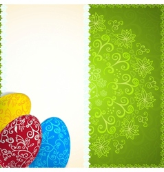 Easter green background with ornament eggs vector