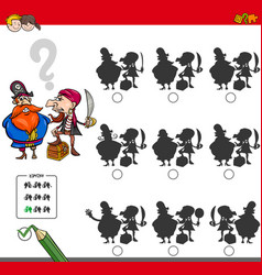 Educational shadow game activity with pirates vector