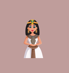 egyptian queen cleopatra holding asp basket vector image