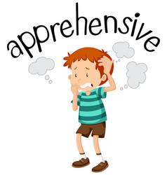 English vocabulary of apprehensive vector