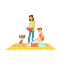 Family on vacation having barbeque outdoors vector