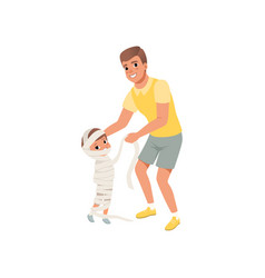 father wrapped in bandages his little son cute vector image