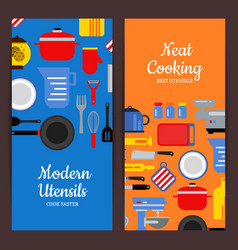 flat style kitchen utensils flyer templates vector image