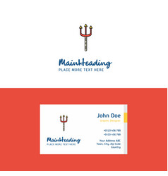 flat trident logo and visiting card template vector image