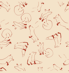 fox lines seamless repeat pattern design vector image