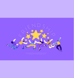 Friendship web template friend group high five vector