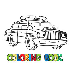 Funny small police car with eyes coloring book vector