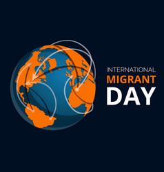 Global migrant day concept banner cartoon style vector