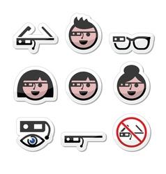 Google glass labels set vector image
