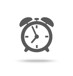 Grey alarm clock icon isolated vector