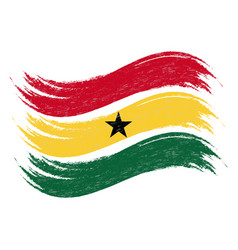 Grunge brush stroke with national flag of ghana vector