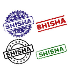 Grunge textured shisha stamp seals vector