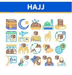 Hajj islamic religion collection icons set vector