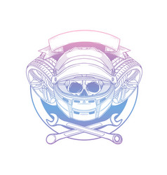 hand drawn sketch racer skull vector image