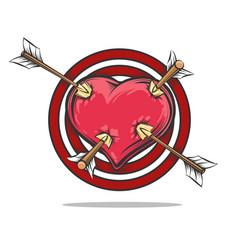 Heart target pierced arrows vector