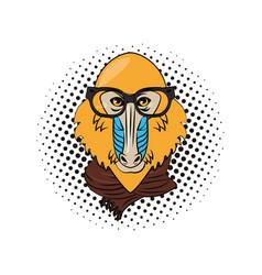 Hipster mandrill cool sketch vector
