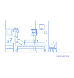 hospital room interior intensive therapy patient vector image