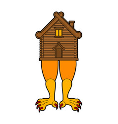 Hut on chicken legs russian traditional wood home vector
