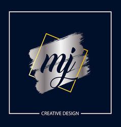 Initial mj letter logo template design vector