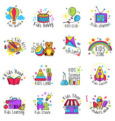 Kids logo set vector