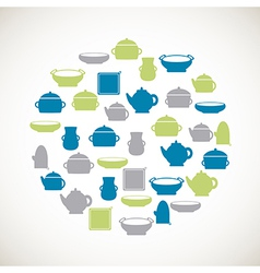 Kitchen colorful icons vector image