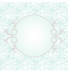 Lace with pearl frame vector image