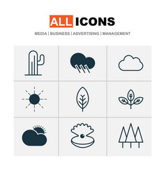 landscape icons set with sunshine rain clear vector image