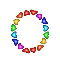 Letter O made of multicolored hearts vector image