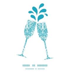 Light blue swirls damask toasting wine glasses vector