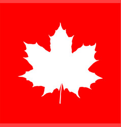 Maple leaf silhouette on red backdrop vector