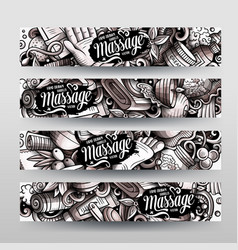 Massage hand drawn doodle banners set cartoon vector