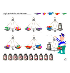 Mathematical logic puzzle game help fisherman vector