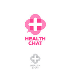 medical chat logo health chat emblem vector image