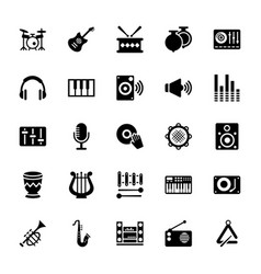 Music glyph icons vector