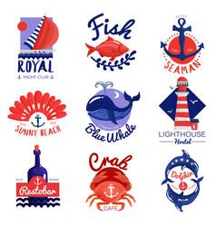 Nautical emblems set vector