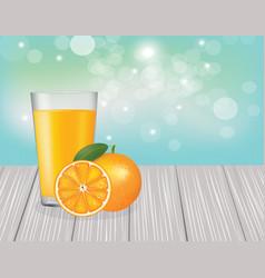 orange juice on wooden planks vector image
