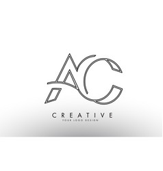 Outline ac a c letters logo with monogram design vector
