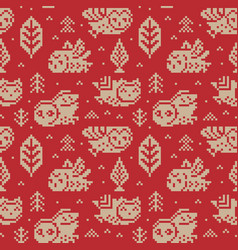 owls seamless pixel pattern in vector image