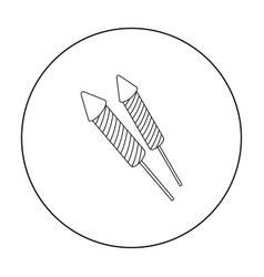 patriotic fireworks icon in outline style isolated vector image