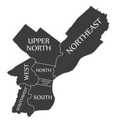 Philadelphia city map usa labelled black vector