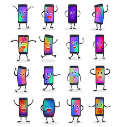 phone emojji smartphone emoticon character vector image