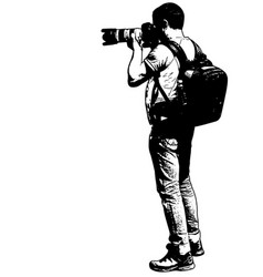 Photographer with his telephoto lens - sketch vector