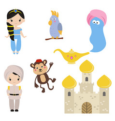 Princess theme with castle prince carriage vector