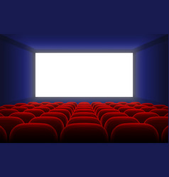 Realistic cinema hall interior with blank white vector