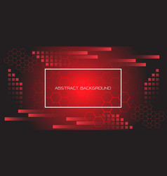red black geometric hexagon with white frame vector image
