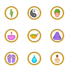 Relaxing massage icons set cartoon style vector