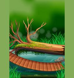 River scene with wooden bridge vector
