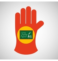 sciencie glove and laboratory board icon vector image