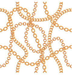 seamless pattern background with chains golden vector image
