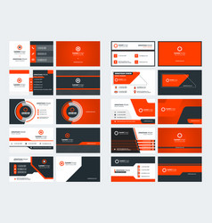 Set 10 double sided business card templates vector